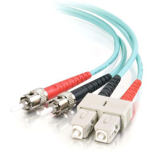 C2G-2m SC-ST 10Gb 50/125 OM3 Duplex Multimode Fiber Optic Cable (Plenum-Rated) | Aqua