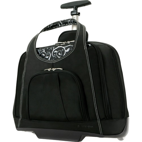 """Kensington Contour Carrying Case (Roller) for 15.4"""" Notebook - Onyx - Water Resistant, Impact Resistant Interior, Scuff Resistant - Quilt - Handle - 13.50"""" (342.90 mm) Height x 18"""" (457.20 mm) Width x 9"""" (228.60 mm) Depth - 1 Pack"""