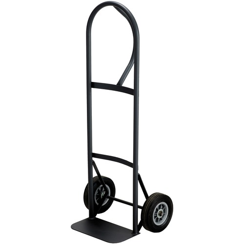 """Safco Tuff Truck P-Handle Truck - Tubular Handle - 181.44 kg Capacity - 2 Casters - 8"""" (203.20 mm) Caster Size - Steel - x 16"""" Width x 14.8"""" Depth x 51.5"""" Height - Black - 1 Each"""