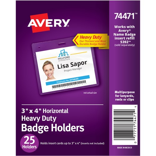 """Avery(R) Heavy-Duty Secure Top Clear Badge Holders, Fits Inserts up to 3"""" x 4"""" , Landscape, 25 Holders (74471) - Support 3"""" (76.20 mm) x 4"""" (101.60 mm) Media - Landscape - Vinyl - 25 / Pack - Clear"""