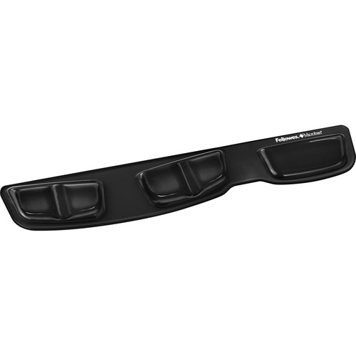 "Fellowes Keyboard Palm Support with Microban® Protection - 0.6"" x 18.3"" x 3.4"" Dimension - Black - Gel Cushion, Polyurethane"