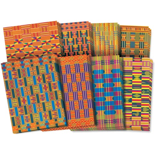 """Roylco African Textile Paper - Craft - 8.50"""" (215.90 mm)Width x 11"""" (279.40 mm)Length - African Textiles Printed - 32 / Pack"""