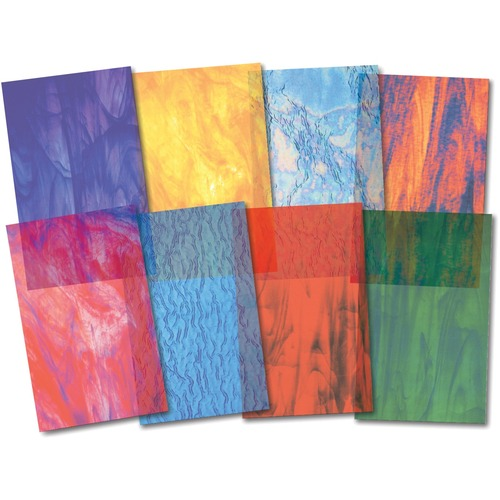 """Roylco Stained Glass Paper - Paper Crafting - 5.50"""" (139.70 mm)Width x 8.50"""" (215.90 mm)Length - Stained Glass Textures - 25 / Pack"""