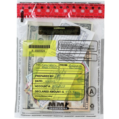"MMF Clear Tamper-Evident Deposit Bags - 9"" Width x 12"" Length - Clear - Plastic - 100/Box - Deposit"