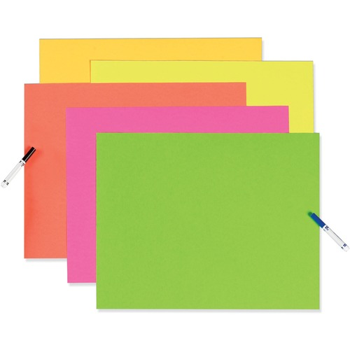"""UCreate Fade Resistant Neon Poster Board - 28"""" (711.20 mm) Height x 22"""" (558.80 mm) Width - Neon Assorted Surface - Fade Resistant, Rigid - 25 / Carton"""