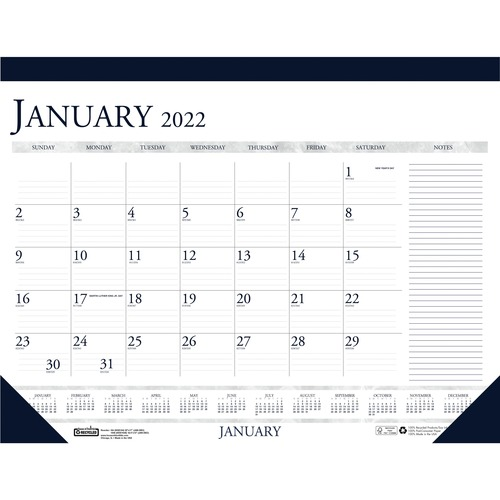 House of Doolittle Blue/Gray Print Monthly Desk Pad - Julian Dates - Monthly - 1 Year - January 2021 till December 2021 - 1 Month Single Page Layout -