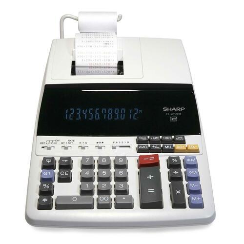 Sharp Calculators EL2615PIII Heavy-Duty Printing Calculator - Dual Color Print - Dot Matrix - 4.3 lps - Calendar, Clock - 12 Digits - Fluorescent - 1 Each