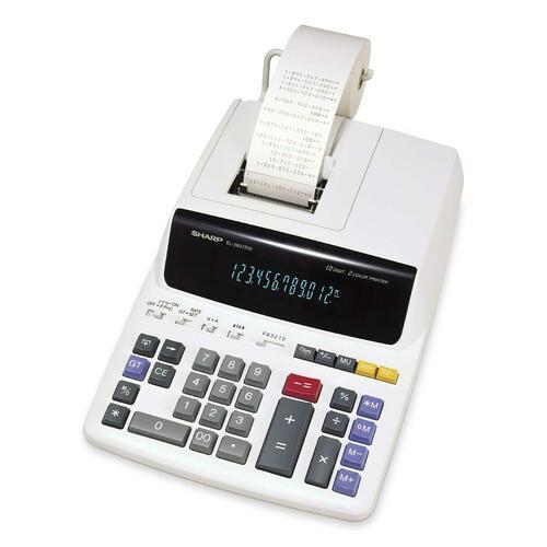"Sharp Calculators EL2607RIII Desktop Calculator - Dual Color Print - 3.5 lps - Easy-to-read Display - 12 Digits - Fluorescent - AC Supply Powered - 0.3"" x 8.7"" x 12.9"" - White - 1 Each"