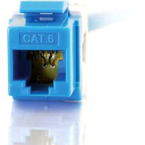 C2G 180° Cat6 RJ45 UTP Keystone Jack | Blue