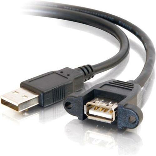 6IN PANEL-MOUNT USB 2.0 A MALE TO A FEMALE CABLE