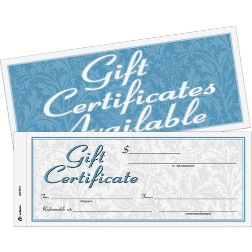 Adams Two-part Carbonless Gift Certificates - 2-Part Carbonless, 25 Numbered Certificates per Book, Store Sign