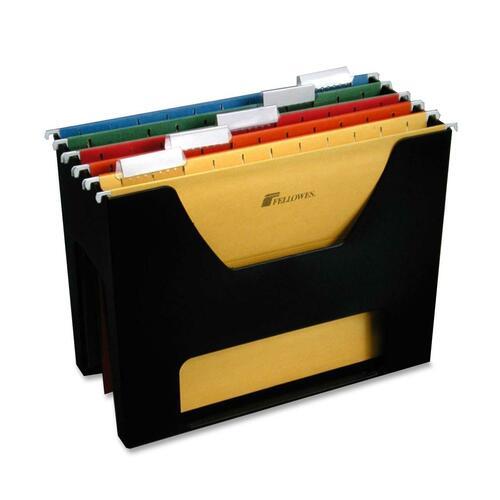 "Fellowes Letter Size Desktopper - 5 x File - 9.8"" Height x 12.5"" Width x 5.5"" Depth - Desktop - Recycled - Black - 1Each"