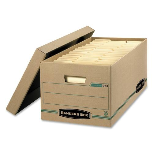 """Bankers Box Earth Storage Box - External Dimensions: 12"""" Width x 24"""" Depth x 10""""Height - Media Size Supported: Letter - Lift-off Closure - Medium Duty"""