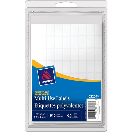 "Avery® Multipurpose Label - 3/8"" x 5/8"" Length - Removable Adhesive - Rectangle - Inkjet, Laser - White - 910 / Pack"