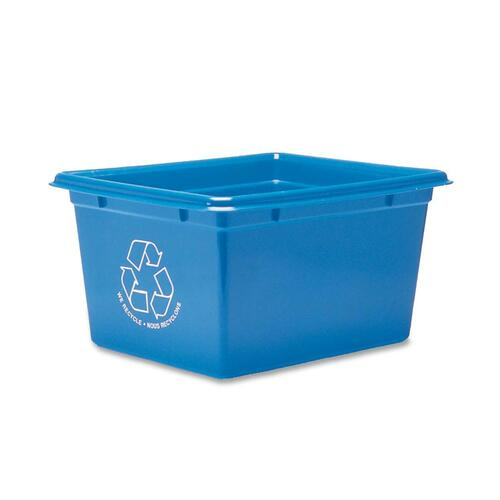 """Fellowes Blue Box Office Recycling Container - 9 L Capacity - Rectangular - 8"""" Height x 12"""" Width x 14"""" Depth - Plastic - Blue"""