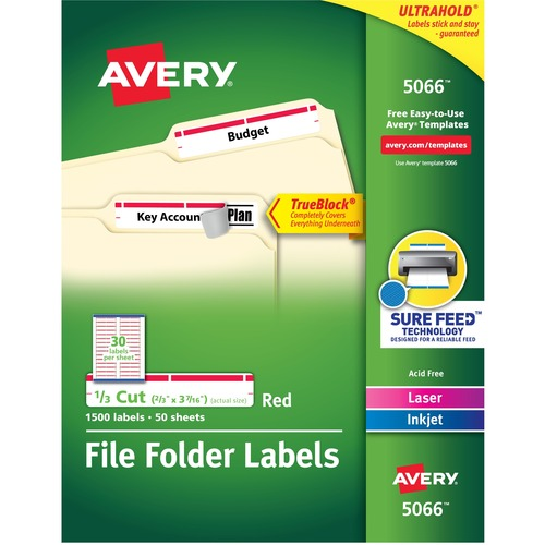 """Avery® TrueBlock(R) File Folder Labels, Sure Feed(TM) Technology, Permanent Adhesive, Red, 2/3"""" x 3-7/16"""" , 1,500 Labels (5066) - 2/3"""" Height x 3 7/16"""" Width - Permanent Adhesive - Rectangle - Laser, Inkjet - Red - Paper - 30 / Sheet - 50 Total Sheets"""