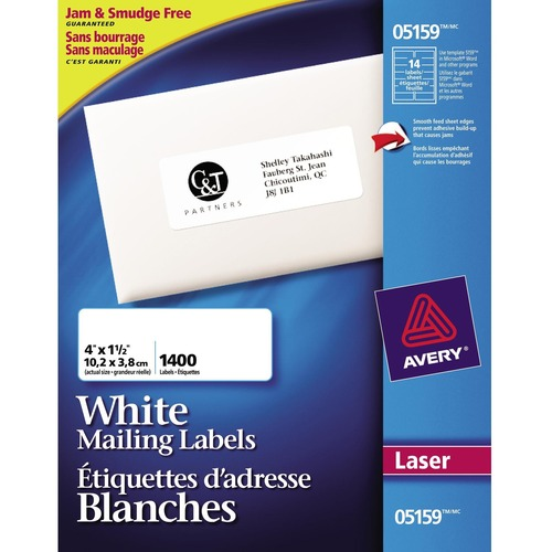 """Avery® Mailing Label - 4"""" x 1 1/2"""" Length - Rectangle - Laser - 1400 / Box"""