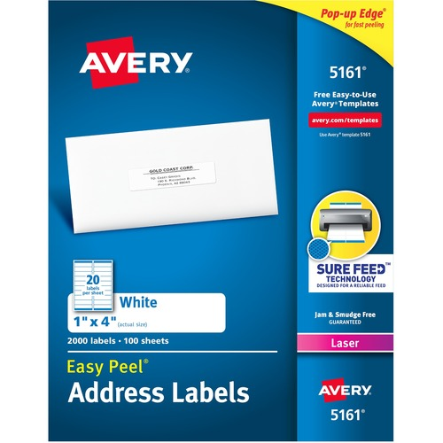 """Avery® Easy Peel® Address Labels with Sure Feed™ Technology - 1"""" Height x 4"""" Width - Permanent Adhesive - Rectangle - Laser - Bright White - Paper - 20 / Sheet - 100 Total Sheets - 2000 Total Label(s) - 2000 / Box"""