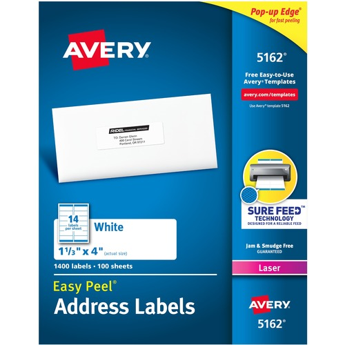 """Avery® Mailing Label - 1 1/3"""" Width x 4"""" Length - Permanent Adhesive - Rectangle - Laser - White - Paper - 1400 / Box"""