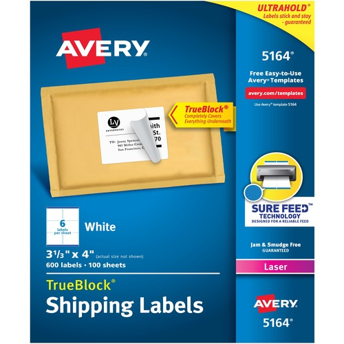 """Avery® TrueBlock(R) Shipping Labels, Sure Feed(TM) Technology, Permanent Adhesive, 3-1/3"""" x 4"""" , 600 Labels (5164) - 3 1/3"""" Height x 4"""" Width - Permanent Adhesive - Rectangle - Laser - Bright White - Paper - 6 / Sheet - 100 Total Sheets - 600 Total La"""