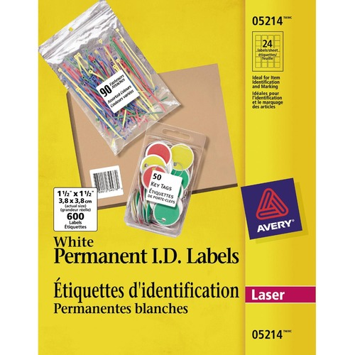 """Avery® ID Label - 1 1/2"""" x 1 1/2"""" Length - Permanent Adhesive - Square - Laser - Bright White - 600 / Pack"""