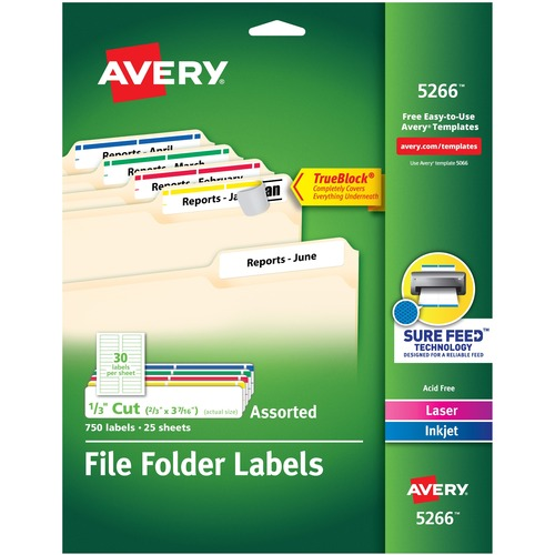"""Avery® TrueBloc Permanent File Folder Labels with Sure Feed - 2/3"""" Height x 3 7/16"""" Width - Permanent Adhesive - Rectangle - Laser, Inkjet - Blue, Green, Red, White, Yellow - Paper - 30 / Sheet - 25 Total Sheets - 600 Total Label(s) - 600 / Pack"""