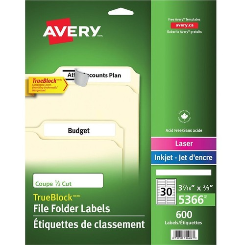 """Avery® TrueBlock(R) File Folder Labels, Sure Feed(TM) Technology, Permanent Adhesive, White, 2/3"""" x 3-7/16"""" , 1,500 Labels (5366) - 2/3"""" Height x 3 7/16"""" Width - Permanent Adhesive - Rectangle - Laser, Inkjet - Bright White - Paper - 30 / Sheet - 50 T"""