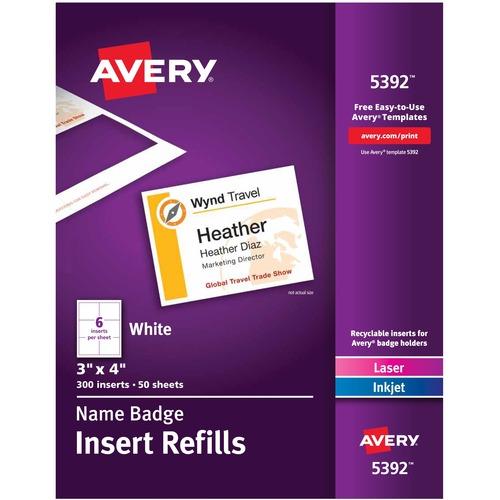 "Avery® Name Badge Insert Refills, 3"" x 4"" , 300 Inserts (5392) - 3"" Height x 4"" Width - Laser, Inkjet - White - Card Stock - 300 / Box"