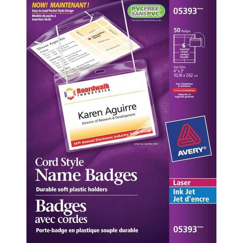 Avery® 5393 Laser/Inkjet Badge Insert - 50 / Box