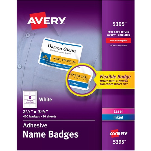 """Avery® Flexible Name Tag Stickers, White Rectangle Labels, Removable Name Badges, 2-1/3"""" x 3-3/8"""" , 400 Labels (5395) - 2 1/3"""" Height x 3 3/8"""" Width - Rectangle - Laser, Inkjet - White - Film - 8 / Sheet - 50 Total Sheets - 400 Total Label(s) - 400 /"""