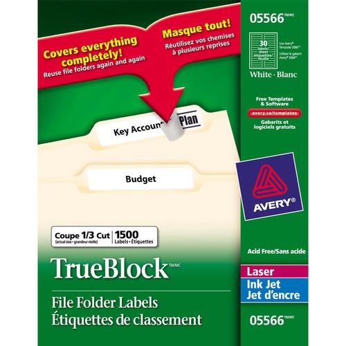 "Avery® File Folder Label - 21/32"" x 3 7/16"" Length - Removable Adhesive - Rectangle - Inkjet - White - 1500 / Box"