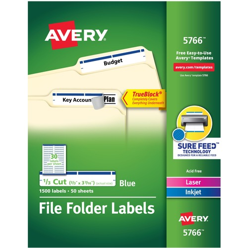 """Avery® TrueBlock(R) File Folder Labels, Sure Feed(TM) Technology, Permanent Adhesive, Blue, 2/3"""" x 3-7/16"""" , 1,500 Labels (5766) - 2/3"""" Height x 3 7/16"""" Width - Permanent Adhesive - Rectangle - Laser, Inkjet - Blue - Paper - 30 / Sheet - 50 Total Shee"""