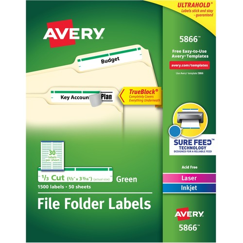 """Avery® TrueBlock(R) File Folder Labels, Sure Feed(TM) Technology, Permanent Adhesive, Green, 2/3"""" x 3-7/16"""" , 1,500 Labels (5866) - 2/3"""" Height x 3 7/16"""" Width - Permanent Adhesive - Rectangle - Laser, Inkjet - Green - Paper - 30 / Sheet - 50 Total Sh"""