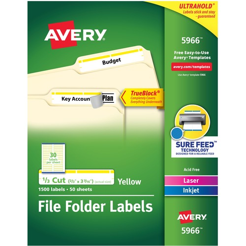 """Avery® TrueBlock(R) File Folder Labels, Sure Feed(TM) Technology, Permanent Adhesive, Yellow, 2/3"""" x 3-7/16"""" , 1,500 Labels (5966) - 2/3"""" Height x 3 7/16"""" Width - Permanent Adhesive - Rectangle - Laser, Inkjet - Yellow - Paper - 30 / Sheet - 50 Total"""