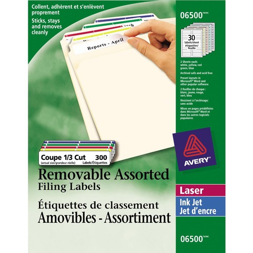 """Avery® Laser Label - 3 7/16"""" x 2/3"""" Length - Removable Adhesive - Rectangle - Laser - Assorted - 300 / Pack"""