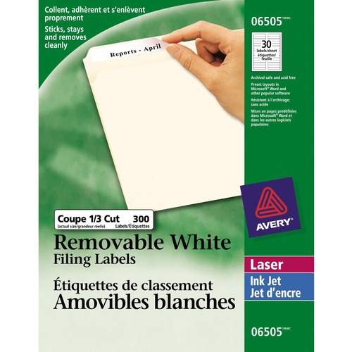 """Avery® Laser Label - 3 7/16"""" x 2/3"""" Length - Removable Adhesive - Rectangle - Laser - White - 300 / Pack"""