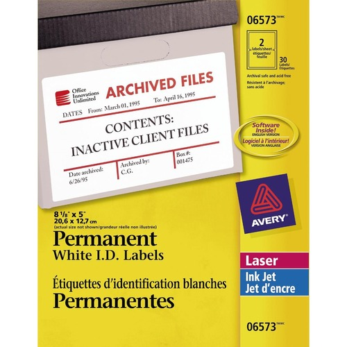 "Avery® Identification Label - 8 1/8"" x 5"" Length - Permanent Adhesive - Rectangle - Laser, Inkjet - White - 2 / Sheet - 30 / Pack"