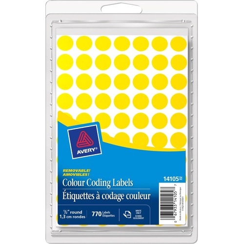 Avery® Coding Label - Removable Adhesive - Circle - Laser, Inkjet - Yellow - 770 / Box