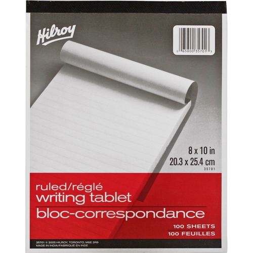 """Hilroy Social Stationery Writing Tablets Notebook - 100 Sheets - 8"""" x 10"""" - White Paper - Rigid - 1Each"""
