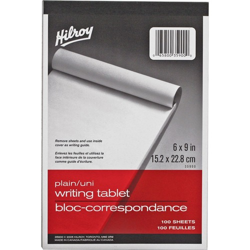 """Hilroy Social Stationery Writing Tablets Notebook - 100 Sheets - Plain - 6"""" x 9"""" - White Paper - Rigid - 1Each"""
