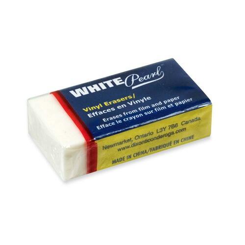 "Dixon Small Pearl Block Eraser - White - Vinyl - 1.50"" (38.10 mm) Width x 0.50"" (12.70 mm) Height x 0.75"" (19.05 mm) Depth x - 24 / Box"