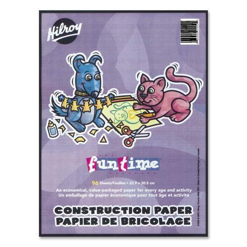 "Hilroy Lightweight Construction Paper Pad - Art, Craft, Office Project - 12"" (304.80 mm)Width x 9"" (228.60 mm)Length - 1 Each - Pink, Manila, Yellow, Purple, Black, Green, Red, Orange"