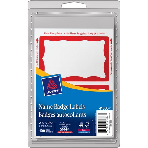 """Avery® Name Badge Label - """"Hello My Name Is""""3"""" Width x 2 1/4"""" Length - Removable Adhesive - Rectangle - Laser, Inkjet - Red - 100 / Pack"""