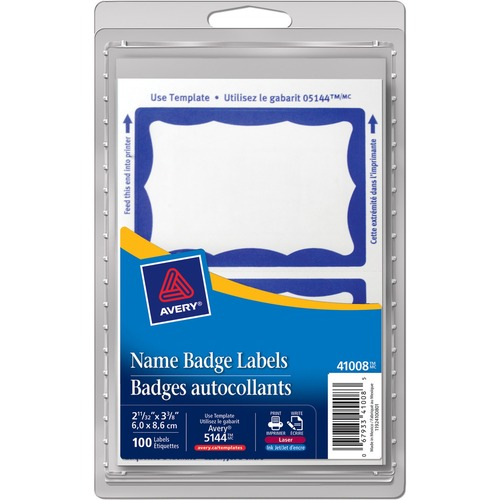 """Avery® Name Badge Label - """"Hello My Name Is""""3"""" Width x 2 1/4"""" Length - Removable Adhesive - Rectangle - Laser, Inkjet - Blue - 100 / Pack"""