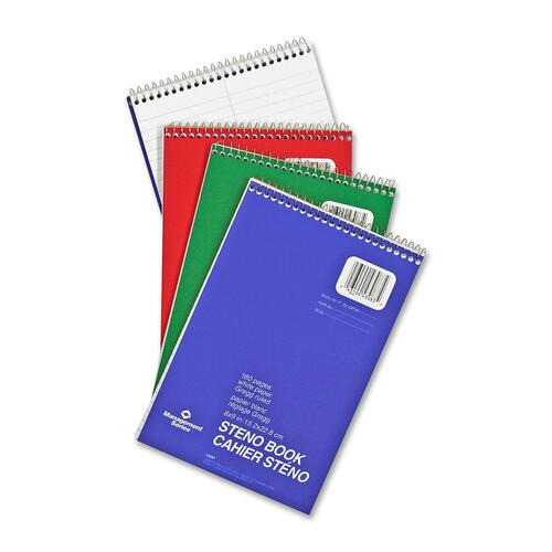 """Hilroy Stenographer's Notebook - 160 Sheets - Plain - Spiral - 6"""" x 9"""" - White Paper - 12 / Pack"""