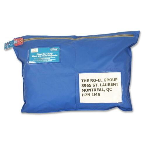 """Ro-el Tamper-Evident Flat Style Courier Bag - 16"""" (406.40 mm) Width x 12"""" (304.80 mm) Length - Royal Blue - Nylon - 1Each - Document"""