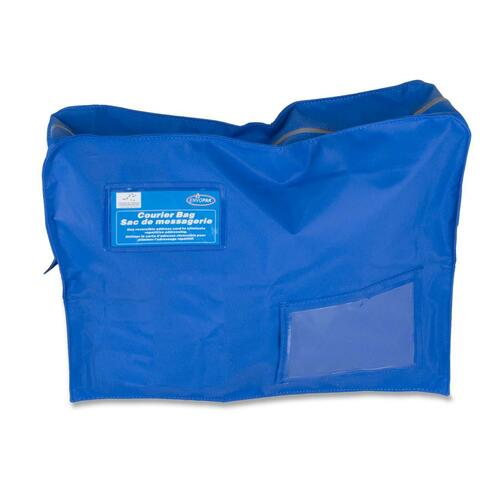 """Ro-el Tamper-Evident Gusset Style Courier Bag - 18"""" (457.20 mm) Width x 14"""" (355.60 mm) Length x 4"""" (101.60 mm) Depth - Royal Blue - Polyester - 1Each - Document"""