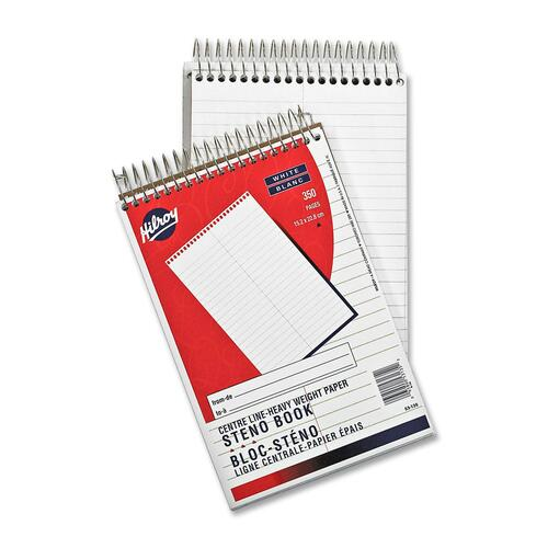 """Hilroy Stenographer's Notebook - 350 Sheets - Plain - Spiral - 6"""" x 9"""" - White Paper - 1Each"""
