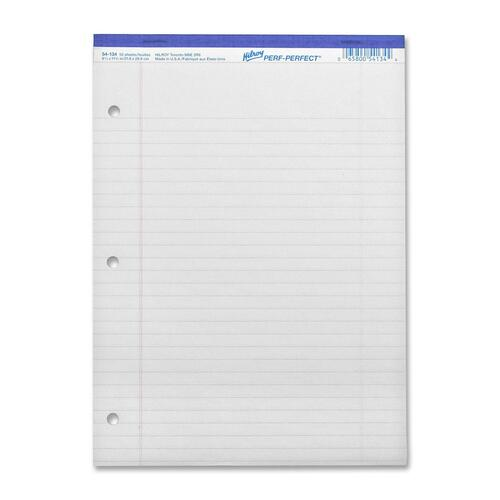 """Hilroy Micro Perforated Business Notepad - 50 Sheets - 0.31"""" Ruled - 8 3/8"""" x 10 7/8"""" - White Paper - Micro Perforated, Punched, Easy Peel - 1Each"""