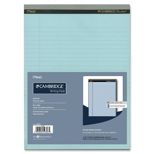 """Hilroy Cambridge Perforated Colored Notepad - 50 Sheets - 20 lb Basis Weight - 8 1/2"""" x 11 3/4"""" - Blue Paper - Micro Perforated, Easy Tear, Stiff-back - 3 / Pack"""